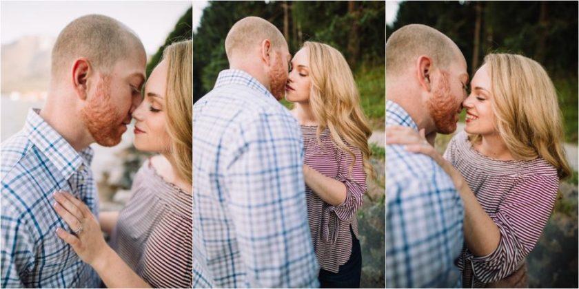 Engaged couple Melanie & Jesse kissing