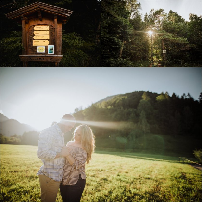 Couple facing each other and holding hands in front of the mountains and sunset