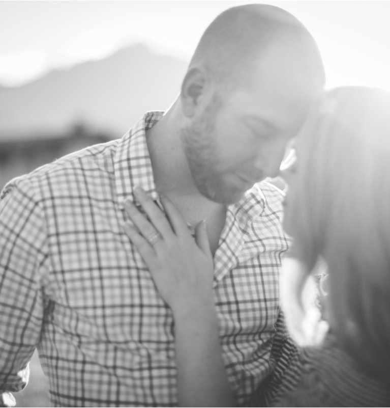 Close up of couple embracing