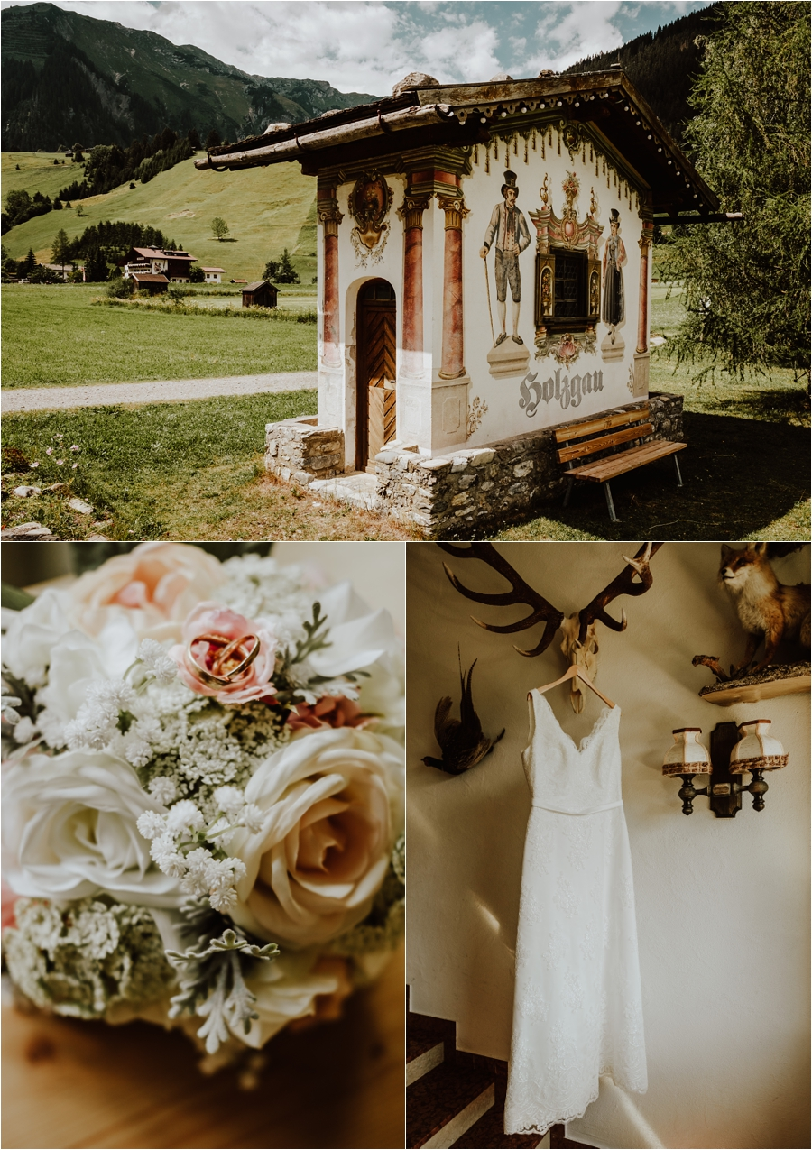 After wedding shoot in the village of Holzgau in the Austrian Alps Image by Wild Connections Photography