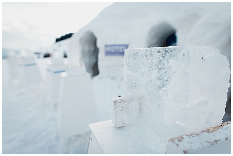 The ice blocks fixed and ready for carving