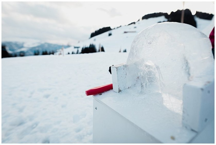 An ice sculpture of an Igloo