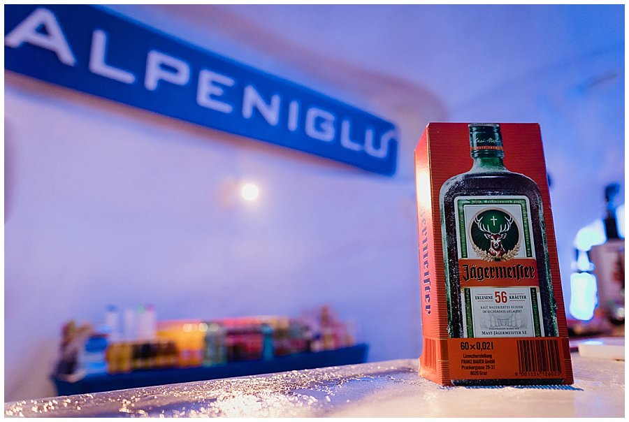 A Jägermeister box sits on the ice bar in the Alpeniglu
