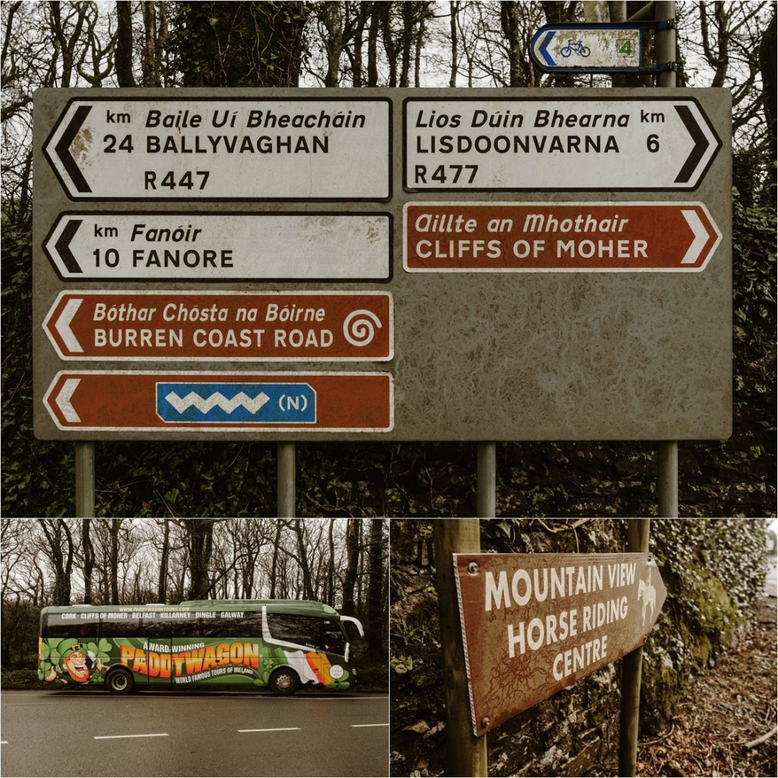 Road signs in County Clare Ireland Photos by Europe Elopement Photographer Wild Connections Photography
