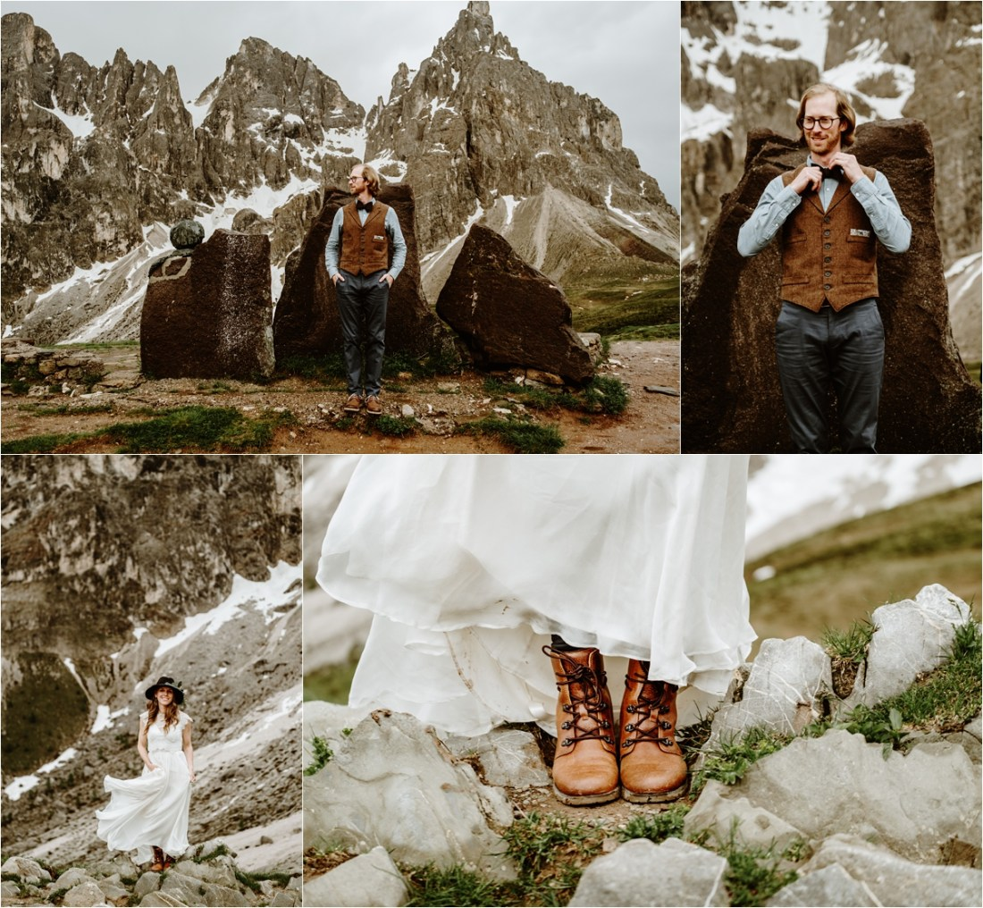 The bride and groom's details for their adventure elopement in the Italian Dolomites. Photography by Wild Connections Photography