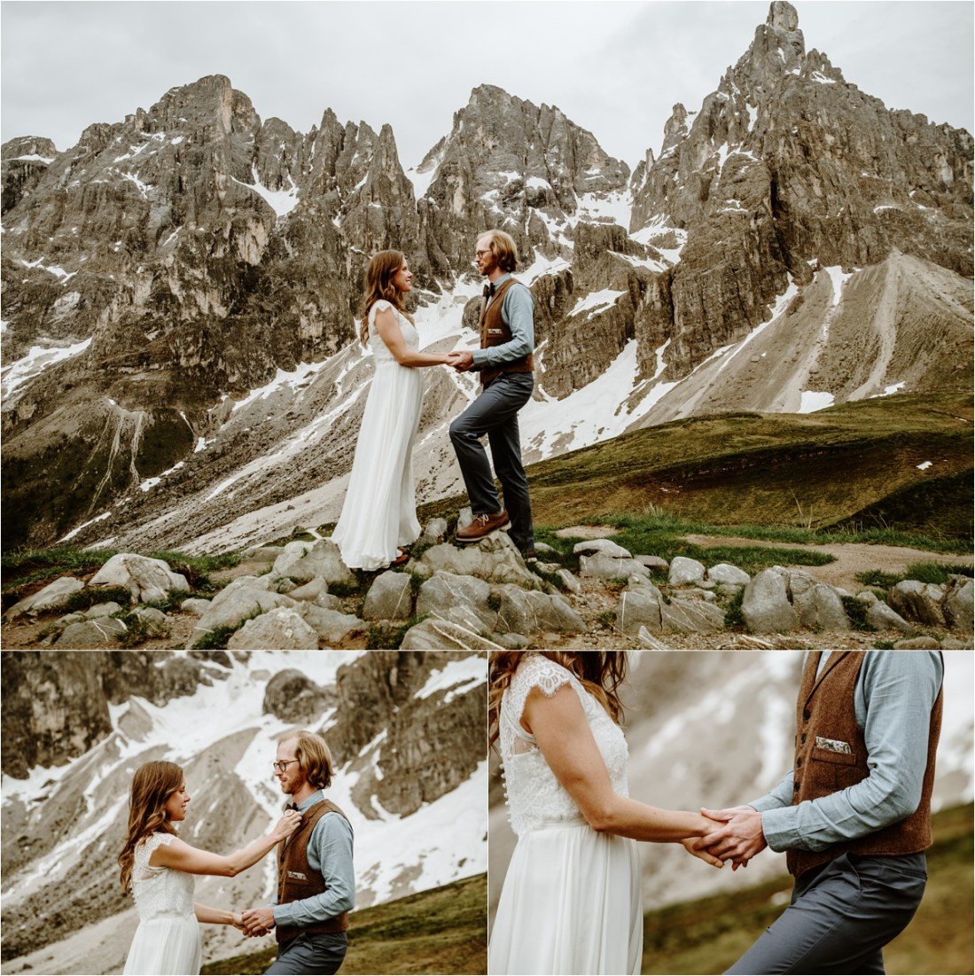The bride adjusts the groom's bowtie during their hiking elopement in the Dolomites. Photography by Wild Connections Photography