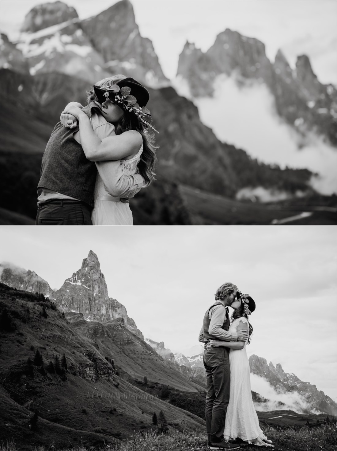 Black & white pictures of a bride and groom embracing with the Dolomites in the background. Photography by Wild Connections Photography