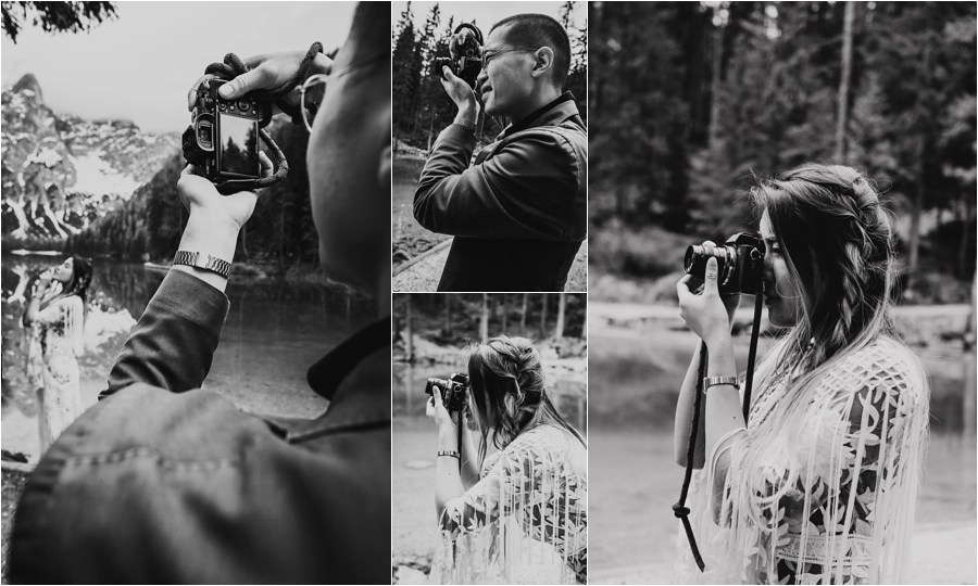 Capturing the couple's love of photography at their Dolomites pre-wedding shoot by Wild Connections Photography