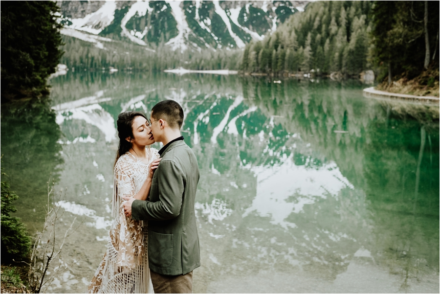 Lago Di Braies pre-wedding engagement shoot adventure session in the Dolomites by Wild Connections Photography