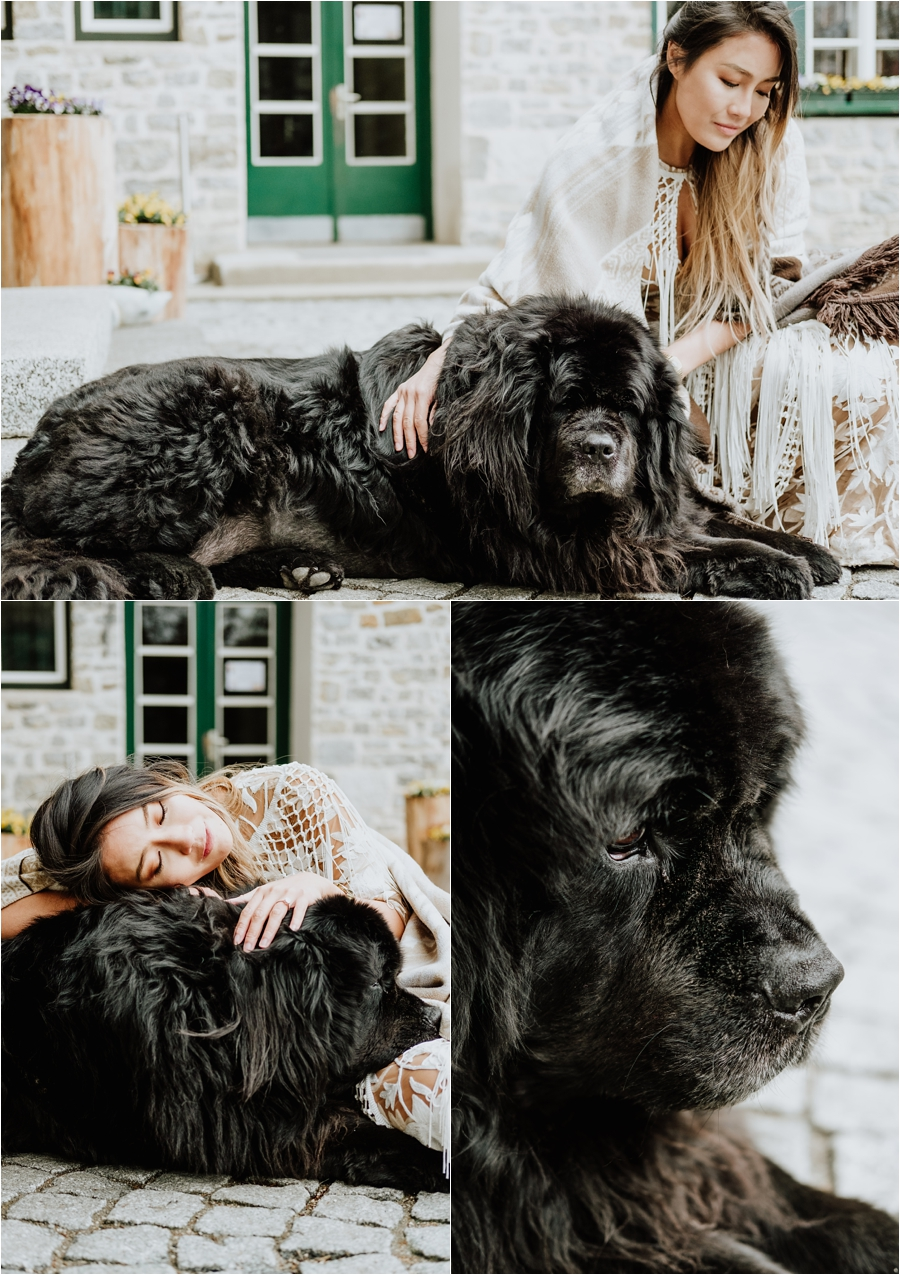 A pre-wedding shoot at Hotel Lago Di Braies with their resident dog Happy - photos by Wild Connections Photography