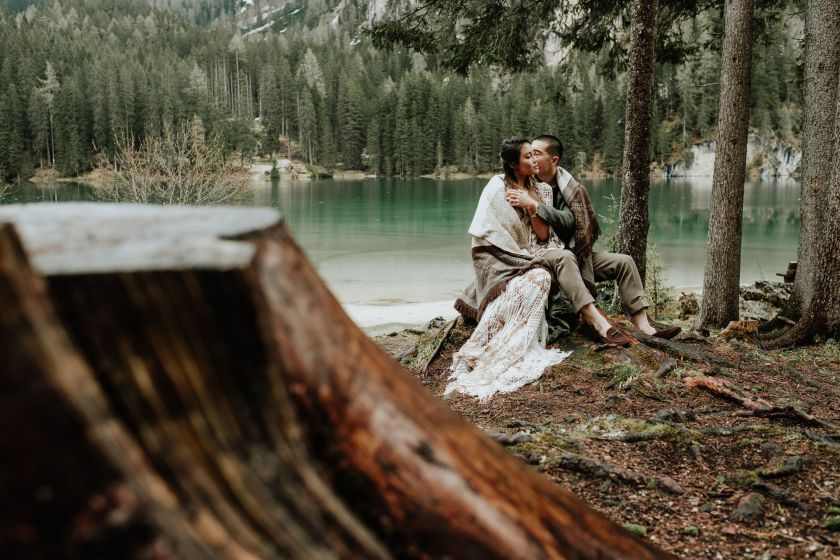 Pre wedding at Lake Braies in the Dolomites by Wild Connections Photography