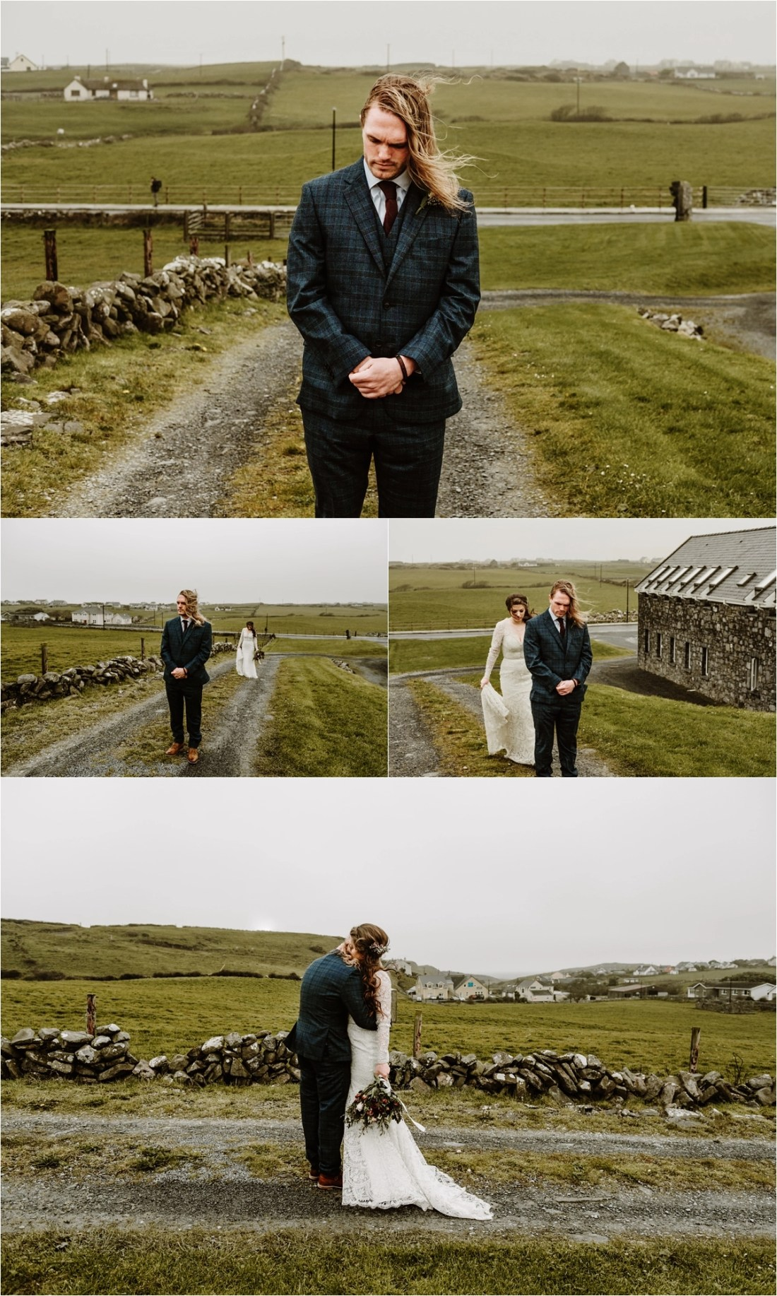 The groom Matt waits anxiously for bride Elizabeth outside Doolin Lodge in Ireland. Photos by Europe Elopement Photographer Wild Connections Photography