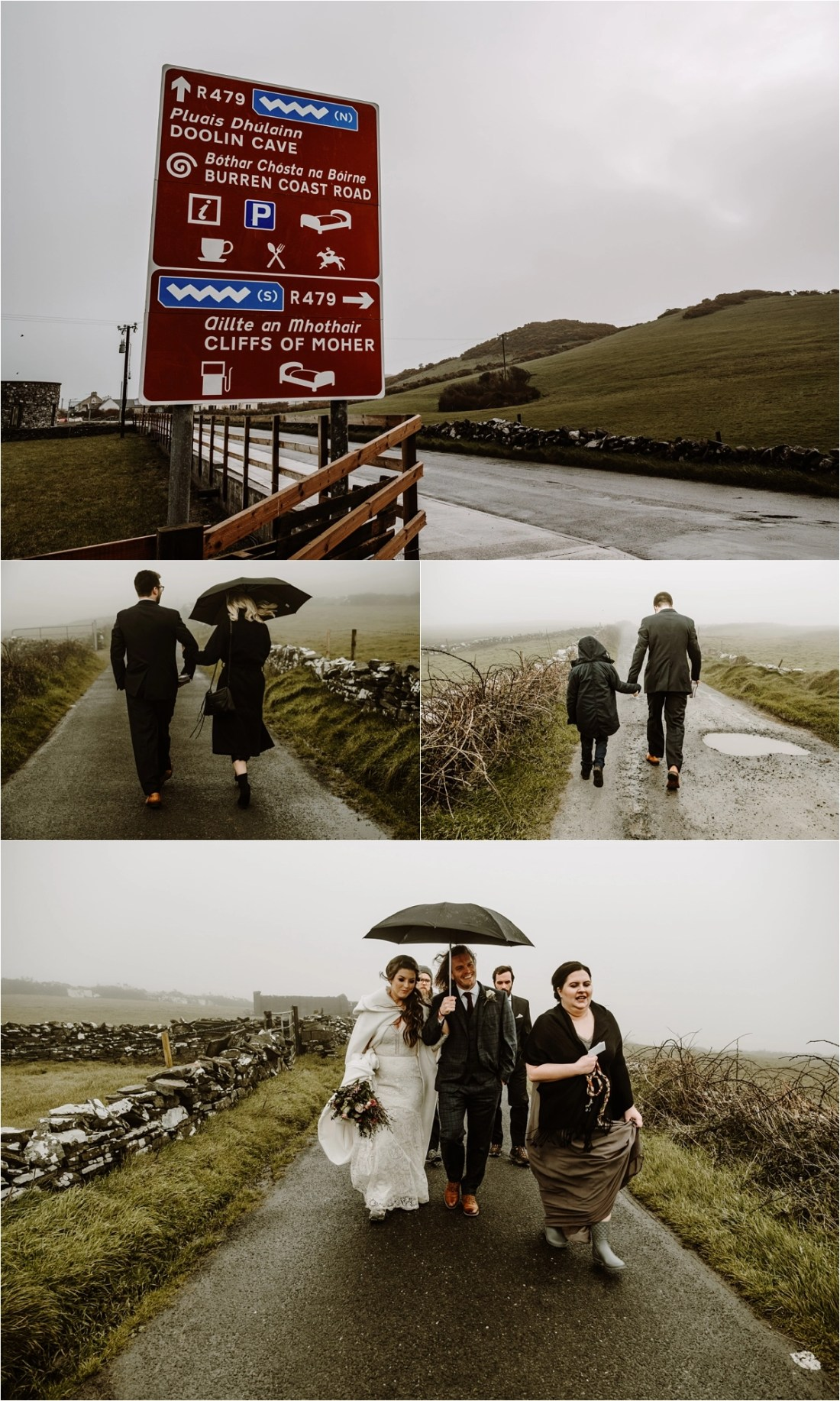 The wedding guests walk through the fog and rain to the elopement ceremony location on the Cliffs of Moher. Photos by Europe Elopement Photographer Wild Connections Photography
