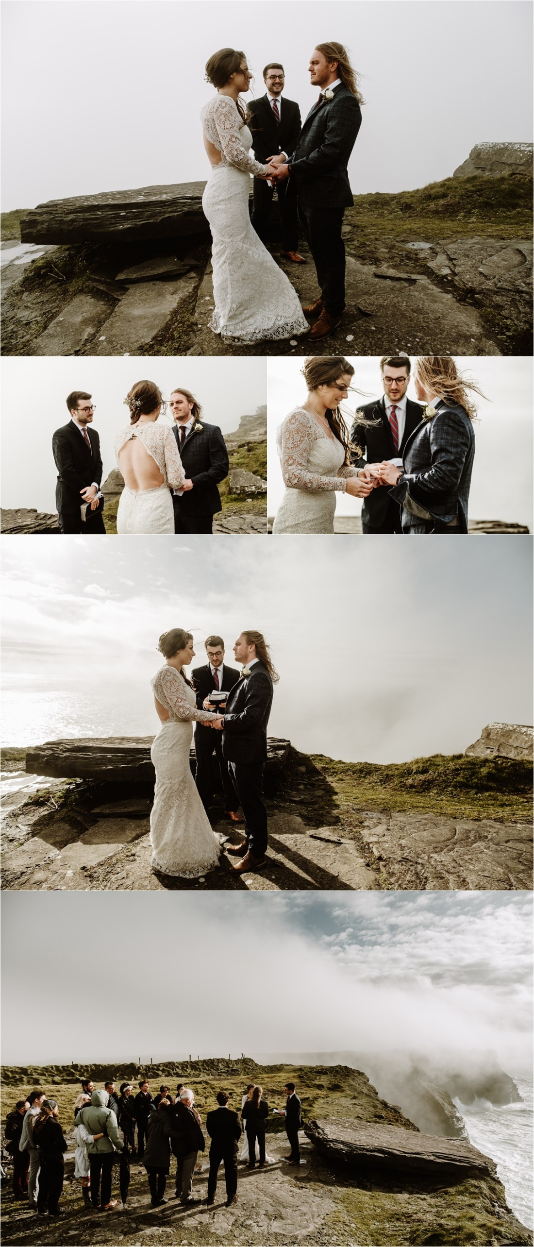 The fog starts to lift during this Cliffs of Moher elopement ceremony in Ireland. Photos by Europe Elopement Photographer Wild Connections Photography