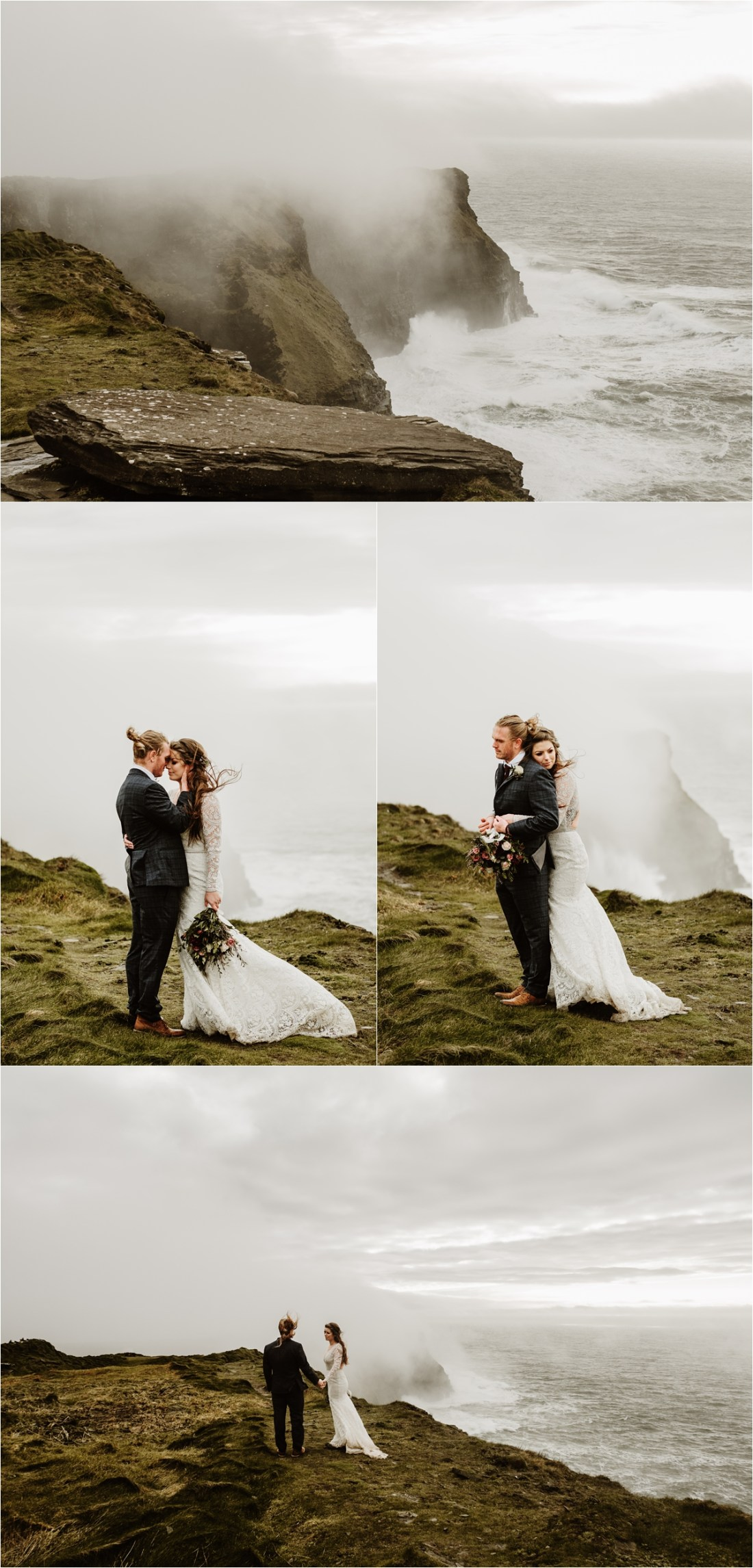 A foggy Cliffs of Moher elopement in Ireland. Photos by Europe Elopement Photographer Wild Connections Photography