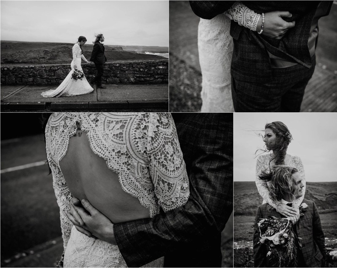 The bride & groom walk from Doolin towards Doolin Pier in County Clare, Ireland. Photos by Europe Elopement Photographer Wild Connections Photography