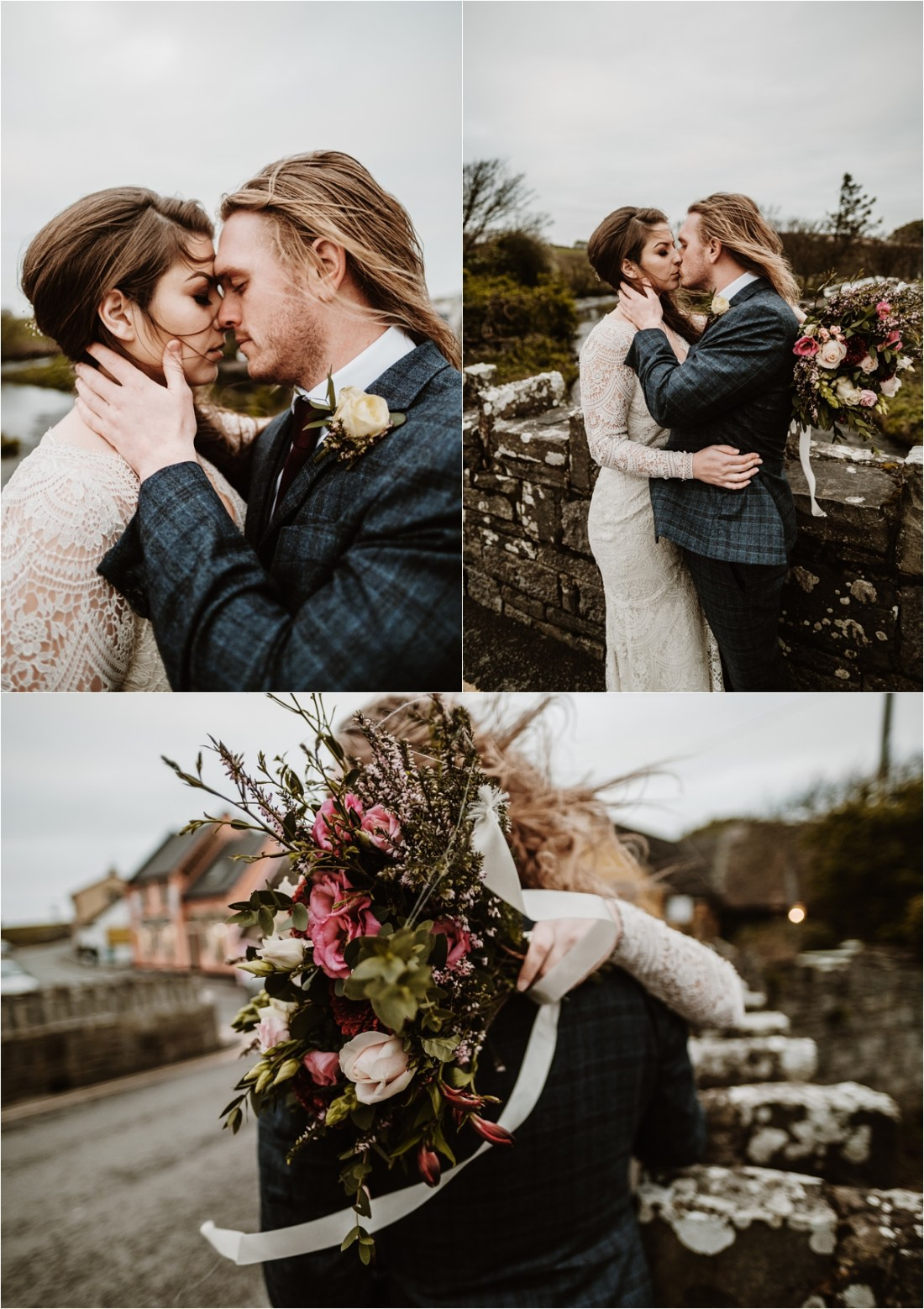 The Bride and groom embrace on a stone bride in Doolin Ireland as the wind blows their hair. Photos by Europe Elopement Photographer Wild Connections Photography