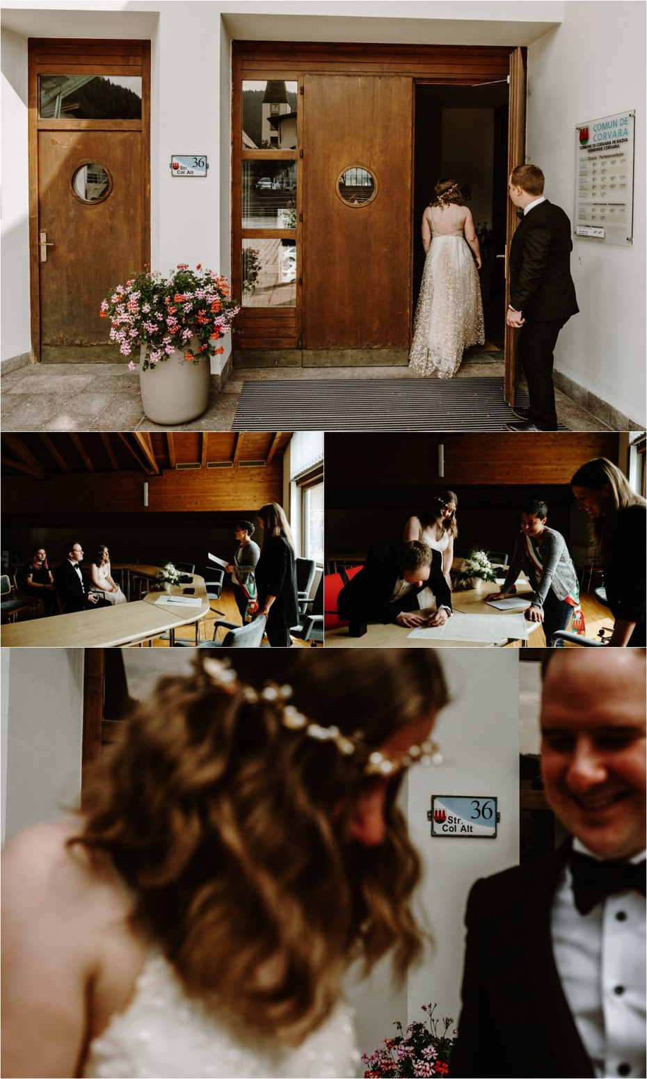 A civil wedding ceremony in Corvara in Badia. Photo by Wild Connections Photography