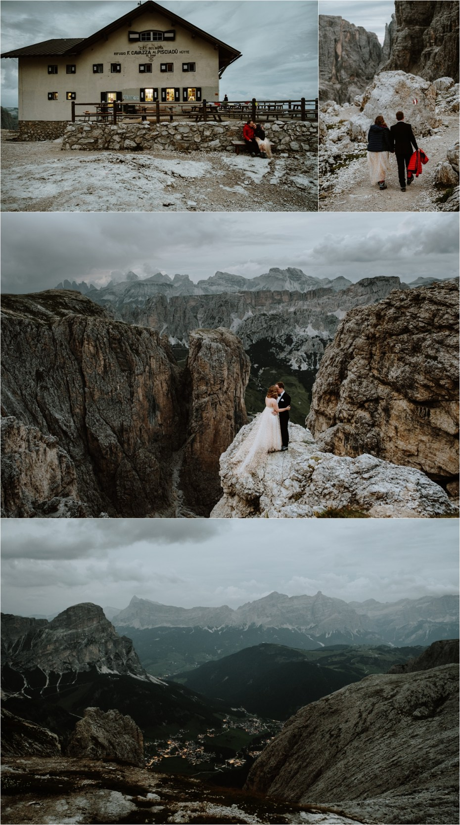 Bride and groom at Pisciadu in the Dolomites. Photo by Wild Connections Photography
