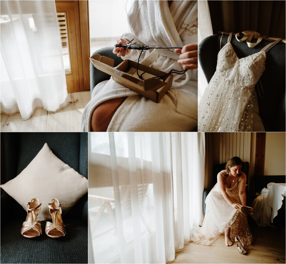 Bride Emma gets dressed at Hotel Kolfuschgerhof in the Dolomites. Photo by Wild Connections Photography