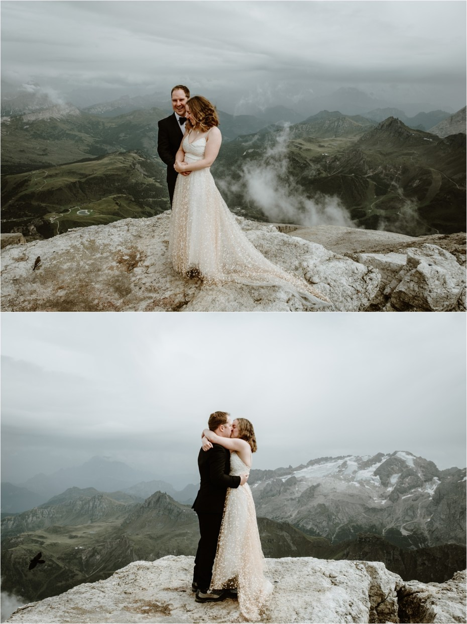 An Dolomites elopement on the Piz Boe with views of the Marmolada mountain in the distance. Photo by Wild Connections Photography