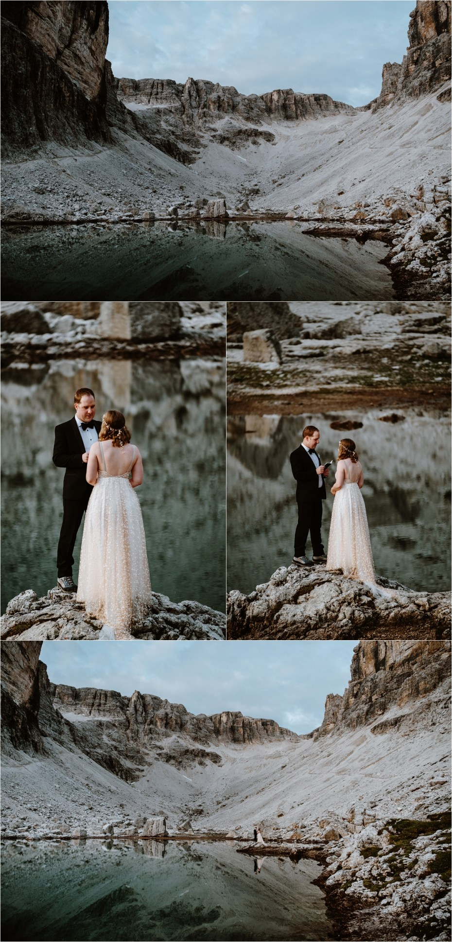 Emma and Martin say their wedding vows at the lake at Pisciadu. Photo by Wild Connections Photography
