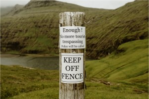 No more trespassing sign in the Faroe Islands