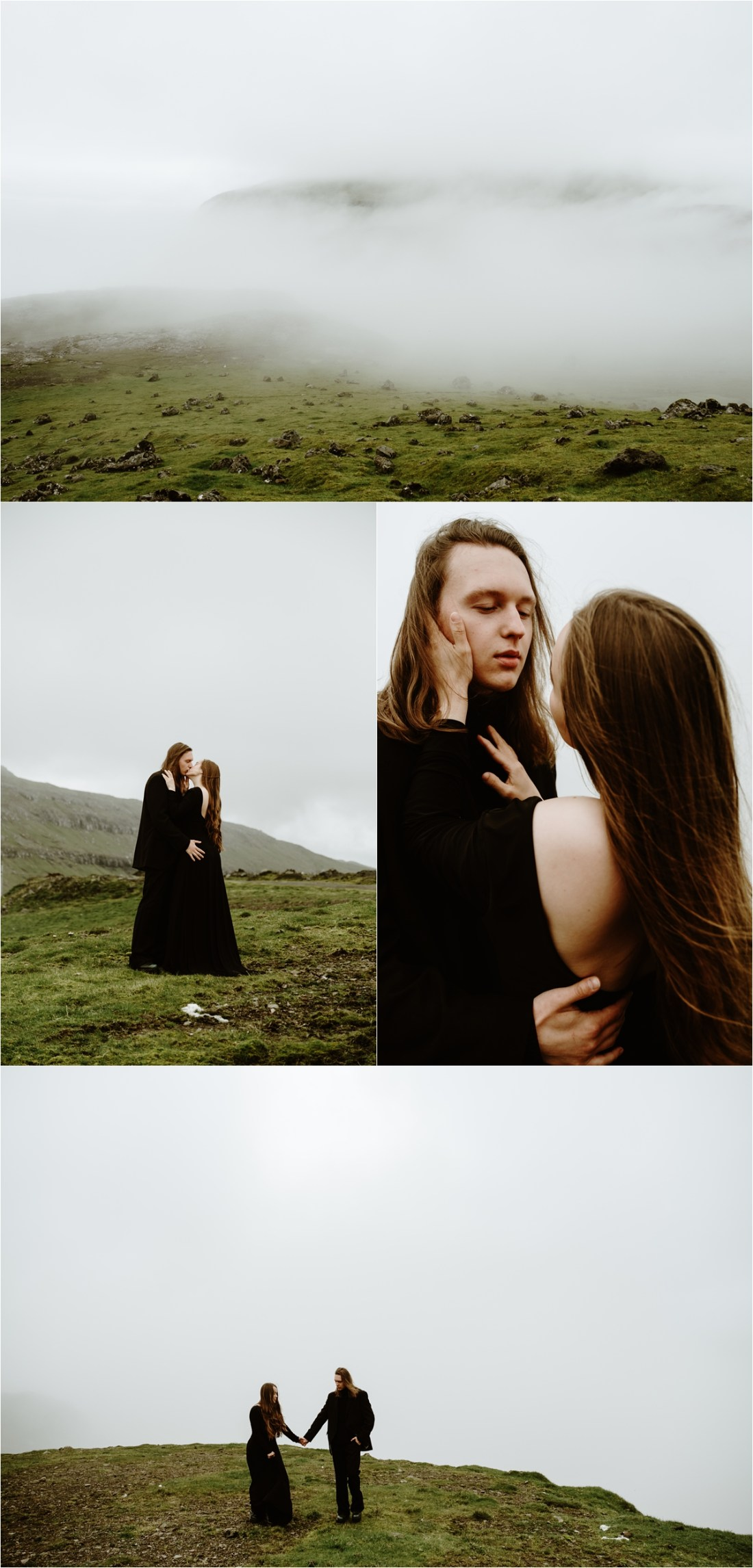 Goth couple in black outfits in the Faroe Islands by Wild Connections Photography