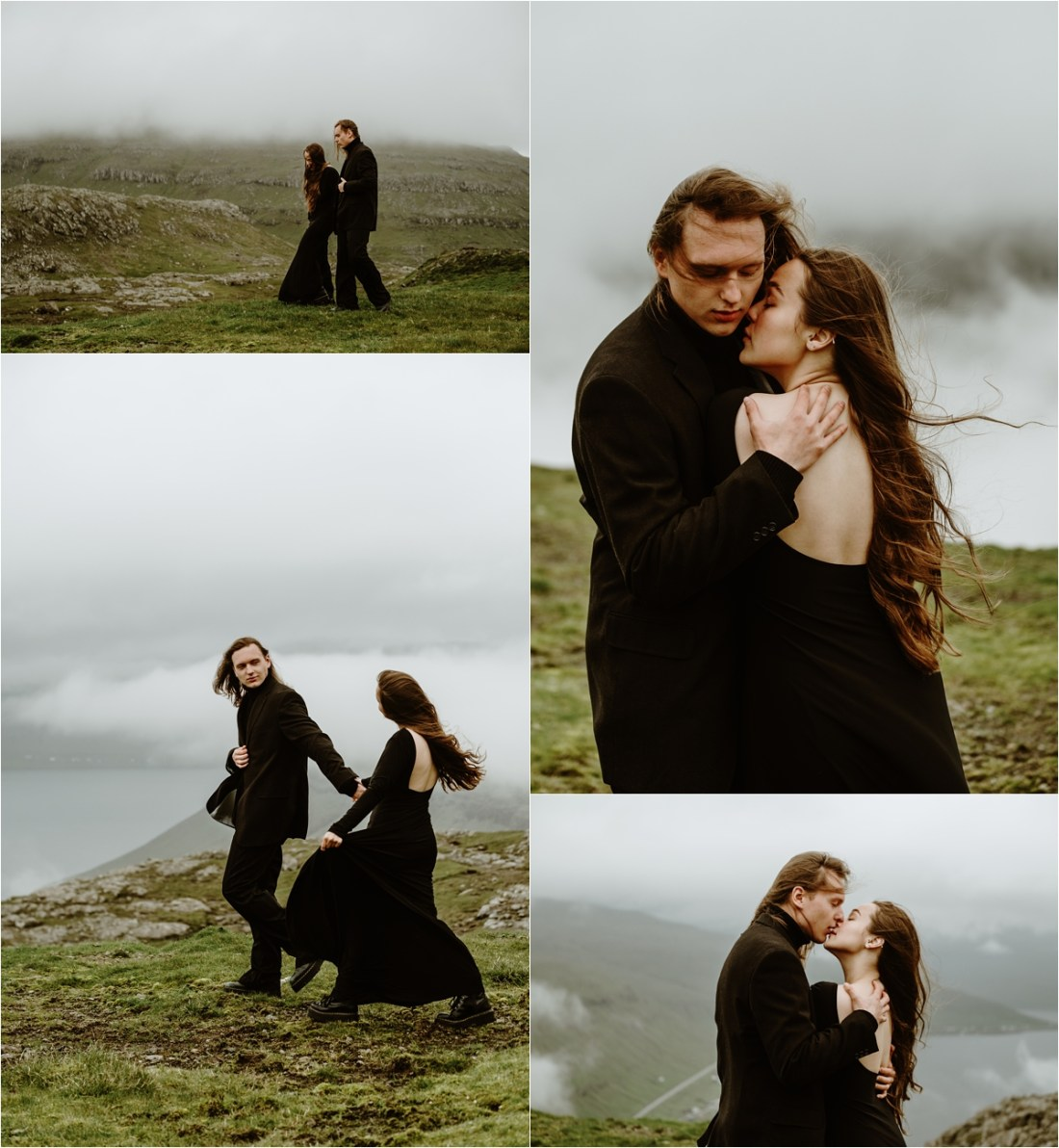 A Faroe Islands Elopement with a black dress by Wild Connections Photography