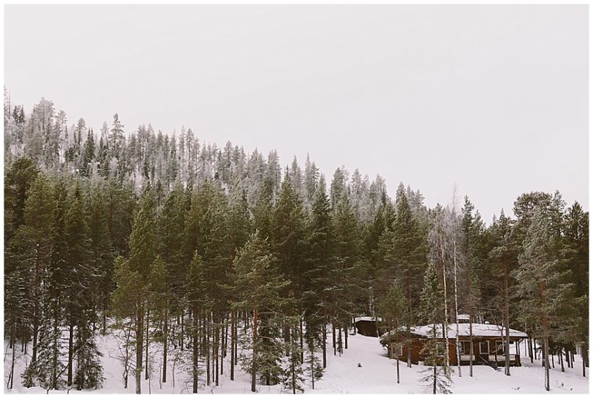A wooden cabin in between the trees in Levi Finland by Wild Connections Photography