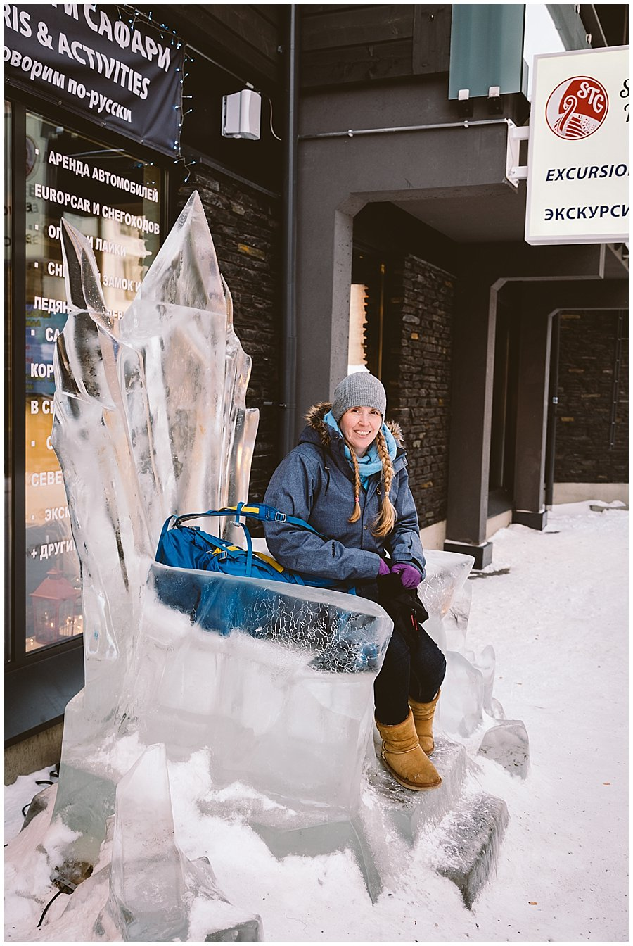 Cat Ekkelboom-White Lapland Wedding Photographer sits on an ice throne in Levi Finland by Wild Connections Photography