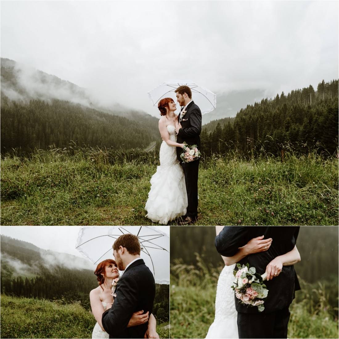 Mountain weddings pictures in the rain in Gerlos, Austria. Photos by Wild Connections Photography