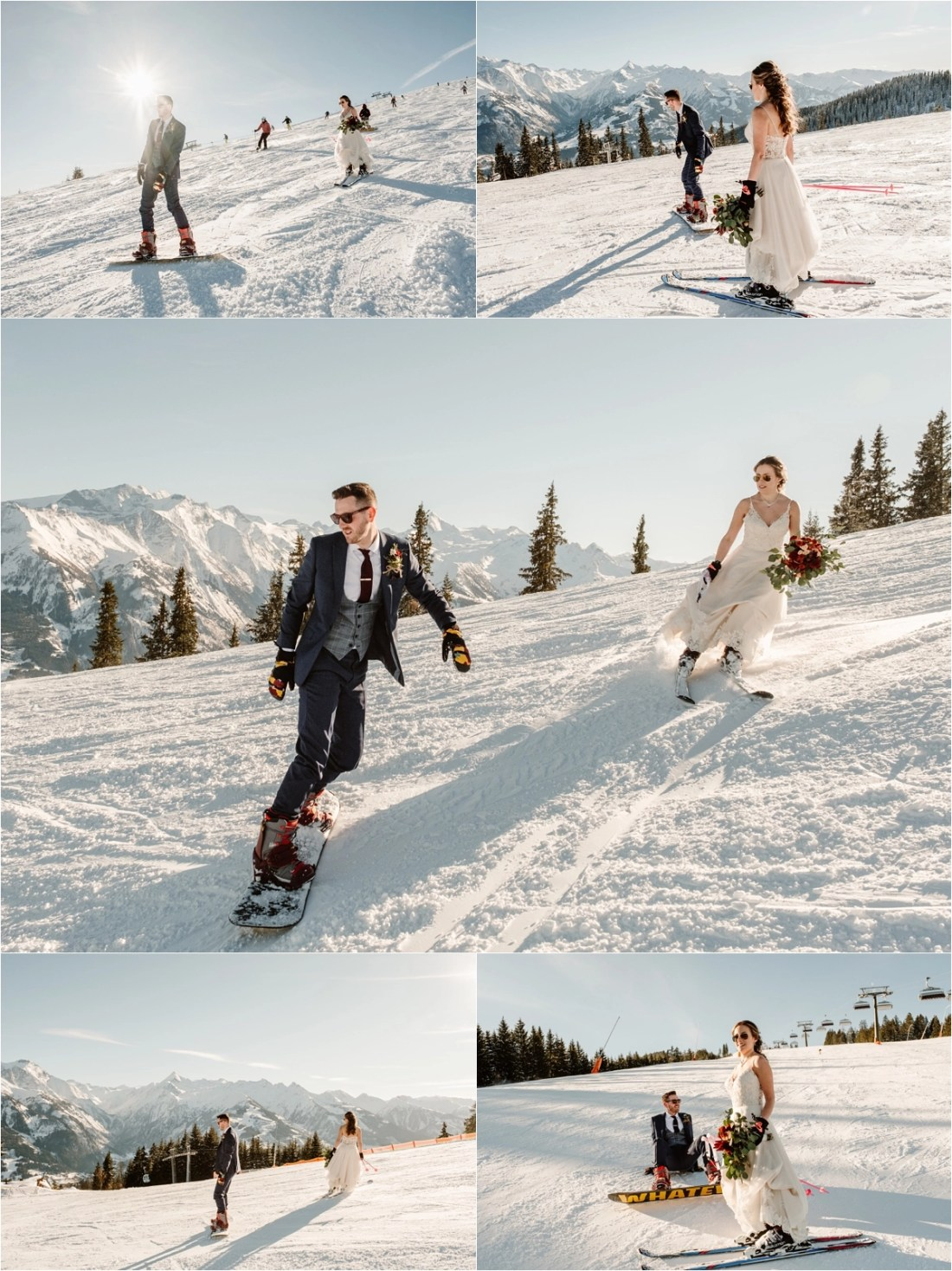 A skiing bride and a snowboarding groom take to the slopes of Zell Am See in Austria captured by Wild Connections Photography