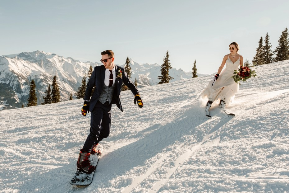 A ski and snowboard wedding in Austria by Wild Connections Photography