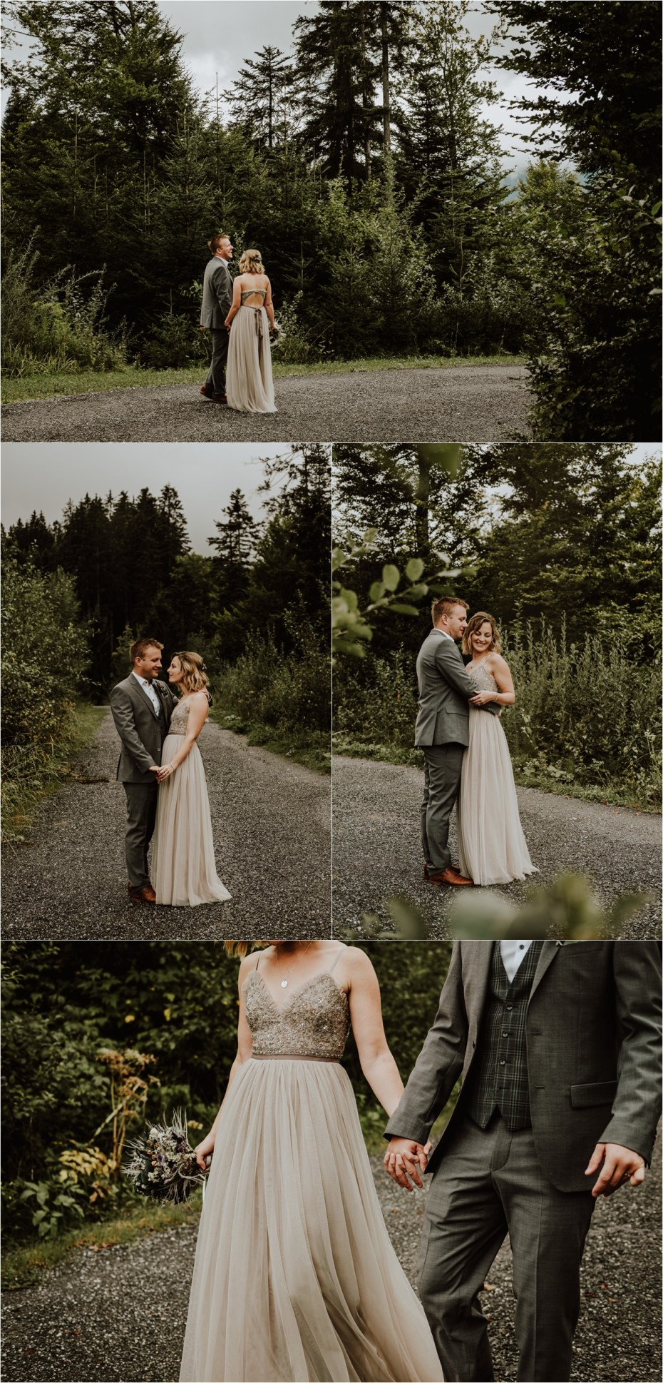 An ash coloured wedding dress from Needle & Thread for this bohemian bride by Wild Connections Photography
