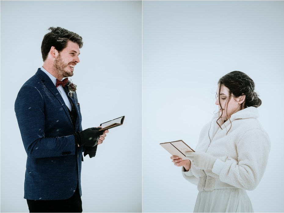 An intimate elopement ceremony, the bride and groom read their handwritten vows to one another in a snowstorm. Photos by Wild Connections Photography