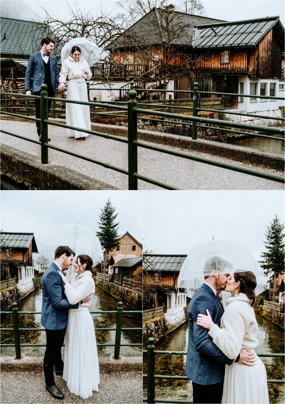 Bride & Groom walk through Hallstatt with an umbrella to shelter from the rain. Photos by Wild Connections Photography