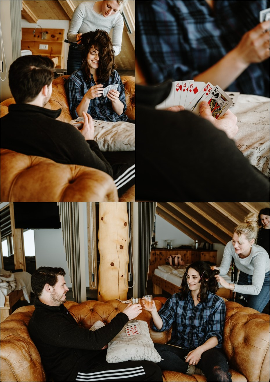 Bride and groom play cards on the morning of their wedding. Photos by Wild Connections Photography