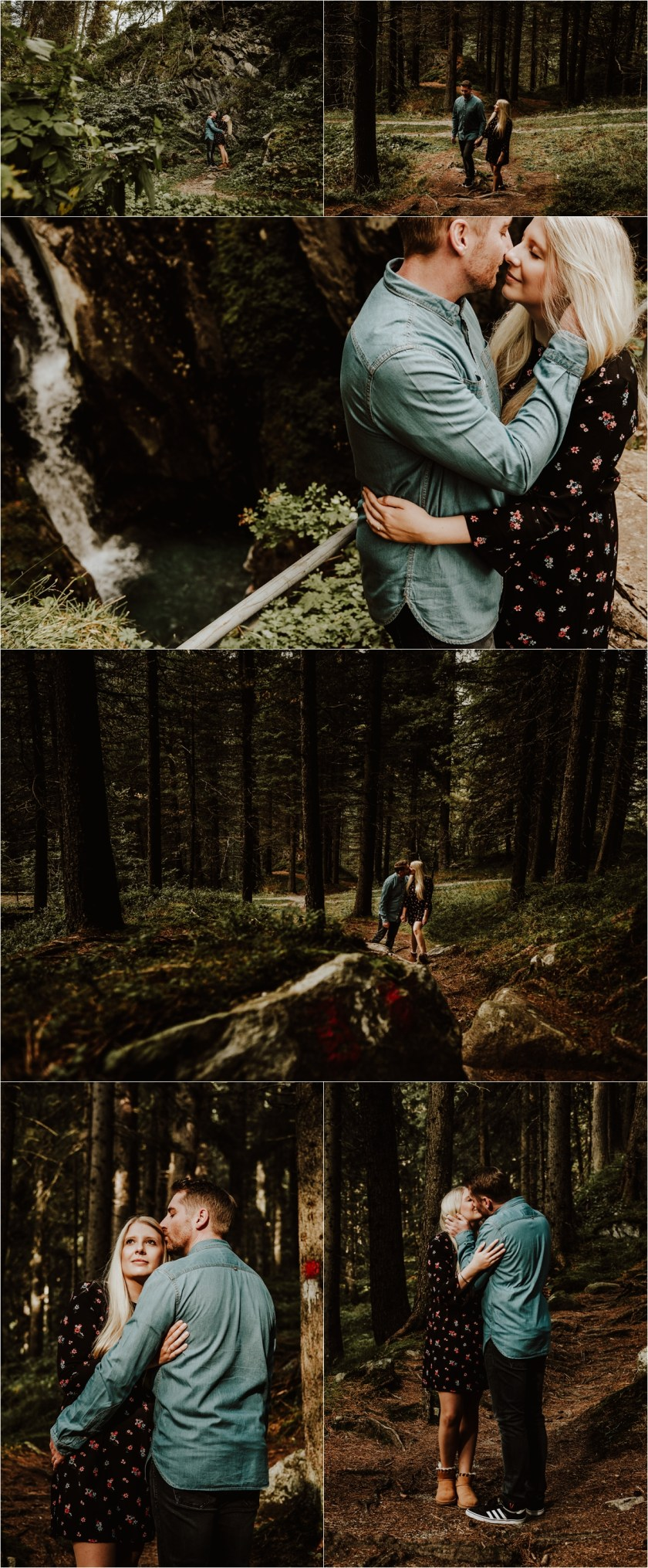 Sarah & Kai walk holding hands through the woods in Hintertux by Wild Connections Photography