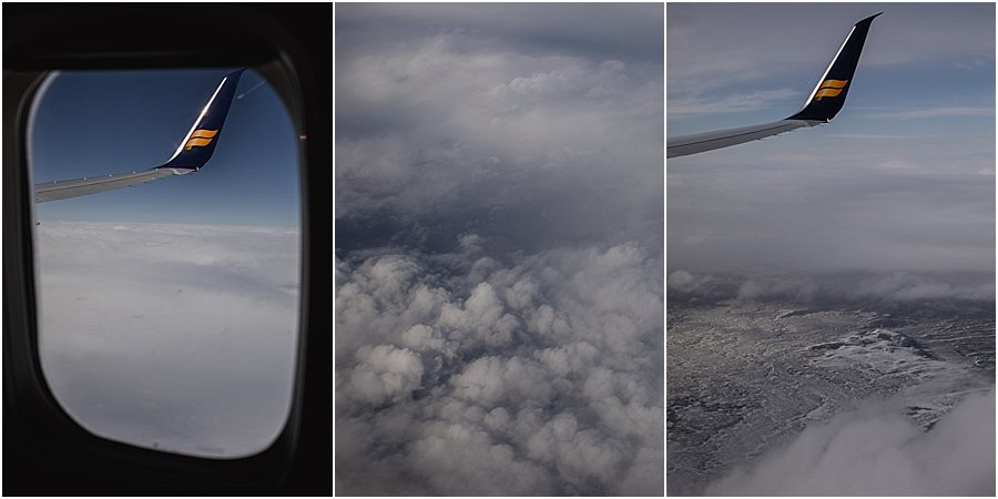 View of Iceland from airplane window