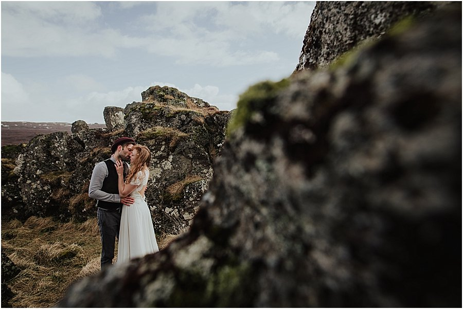 Thingvellir Bride and Groom kissing