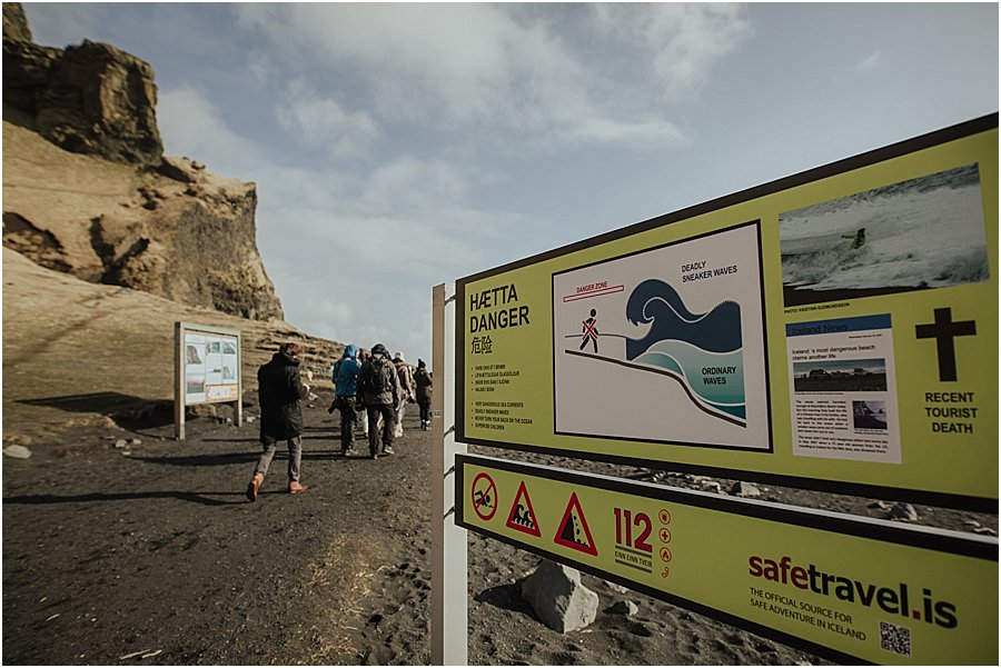 Danger signs at the black beach in Vik