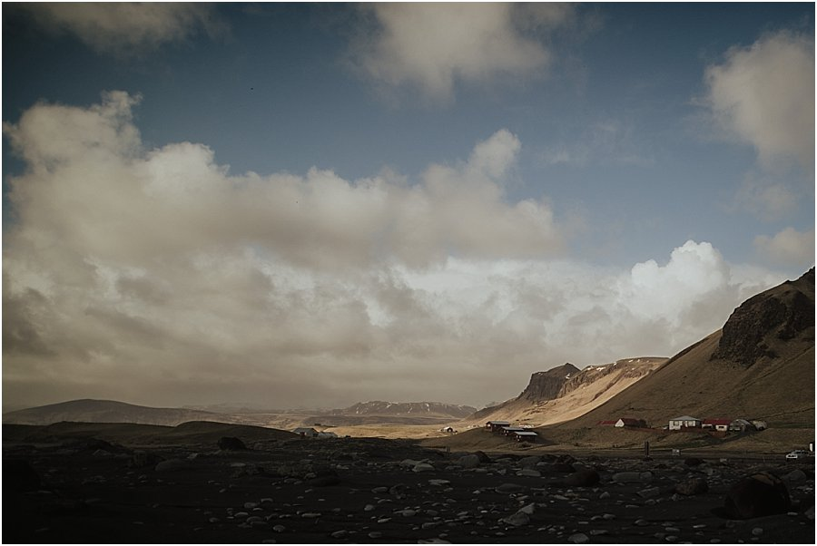 Looking inland from Iceland's black beach