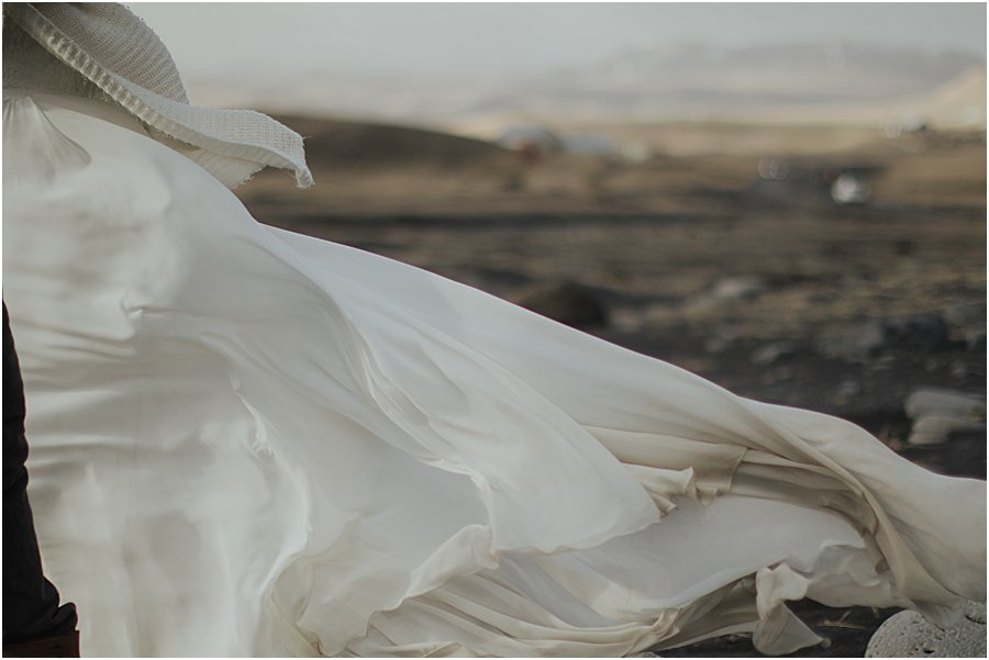 wedding dress blowing in the wind