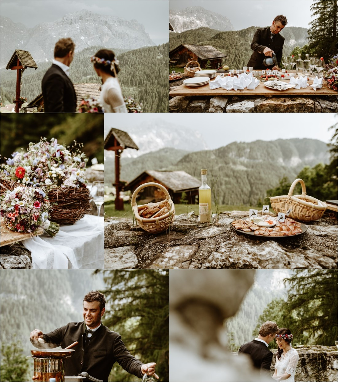 A post-elopement picnic in the Dolomites. Photo by Wild Connections Photography