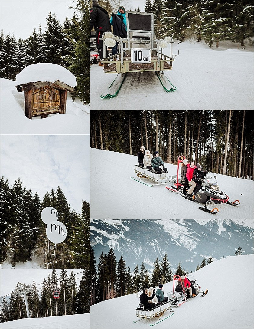 Ski-Doos transport wedding guests to the mountain wedding location, the Toni Alm in Passthurn in the Kitzbühler Alps by Wild Connections Photography