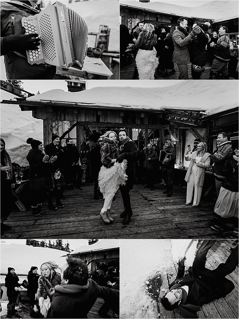 Guests dance to traditional Austrian music at this Austrian ski lodge wedding by Wild Connections Photography