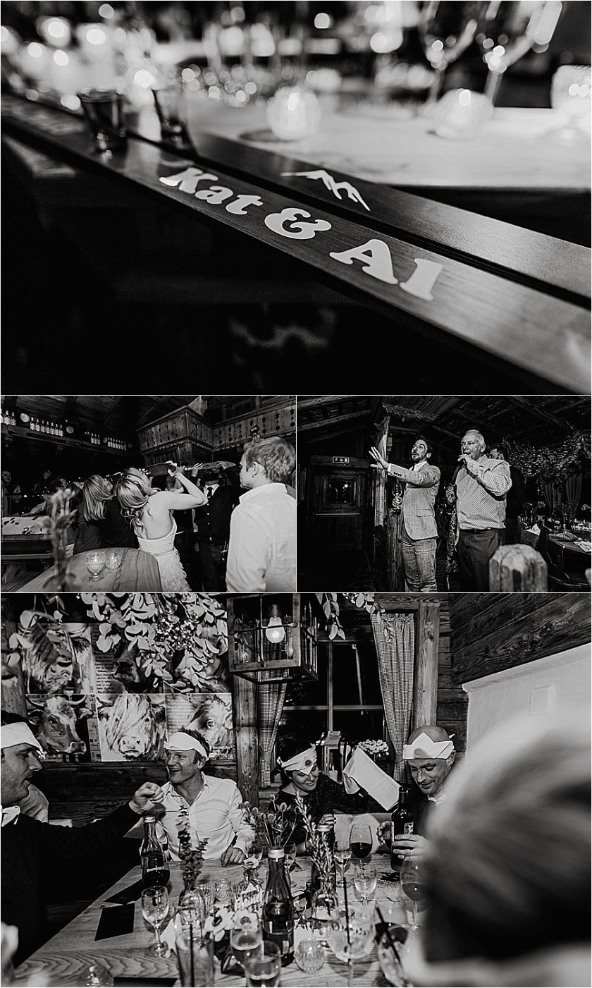A shot ski to kick off the apres ski party at Katja & Al's mountain wedding in Austria by Wild Connections Photography