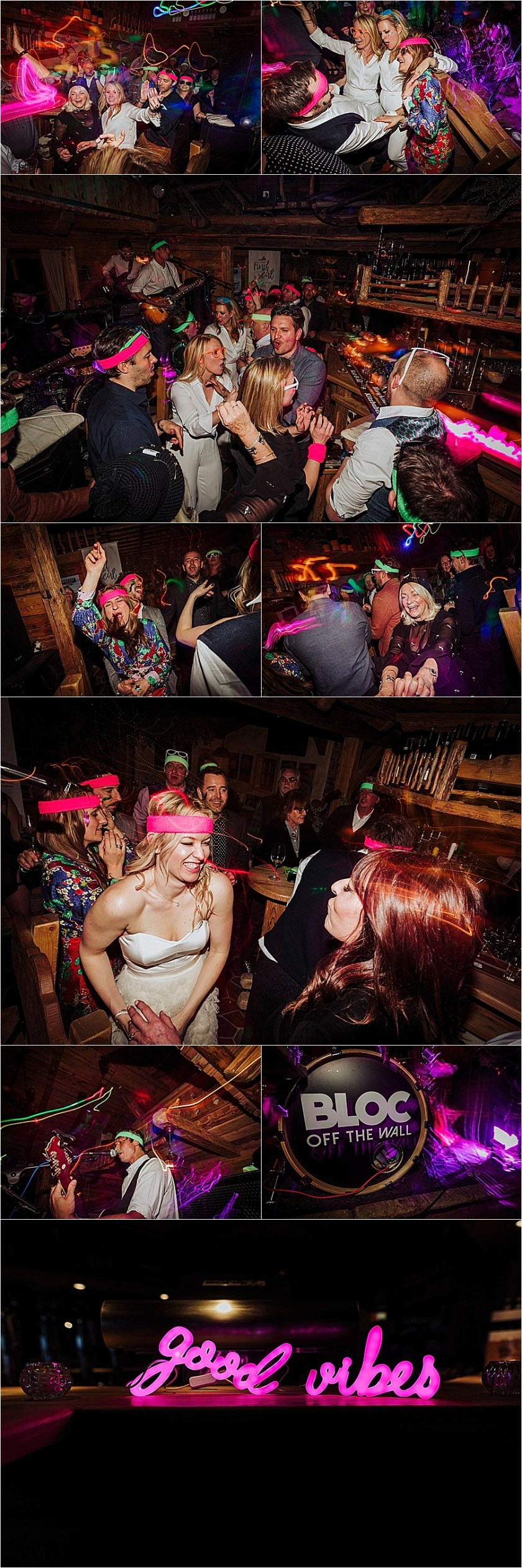 Neon apres ski themed wedding reception for this mountain wedding in the Austrian Alps by Wild Connections Photography