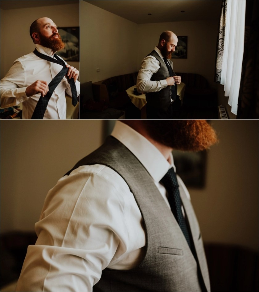 The groom Jesse gets ready for his Austrian destination wedding by Wild Connections Photography